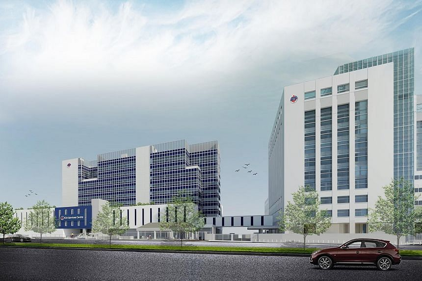 An artist's impression of the Immigration and Checkpoints Authority's new Integrated Services Centre (left) next to the existing ICA Building in Kallang Road. The carpark next to the ICA Building will make way for the 10-storey centre.