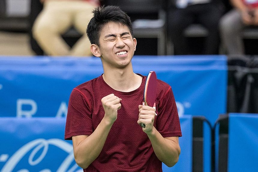 Left: Koen Pang enjoying the moment after beating fellow Singaporean Clarence Chew 4-0 in the men's singles final yesterday. Below: Singapore added a second table tennis gold through Lin Ye, after Feng Tianwei retired due to injury during the second