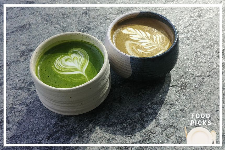 Matcha latte (left) and houjicha latte from The Matcha Project.