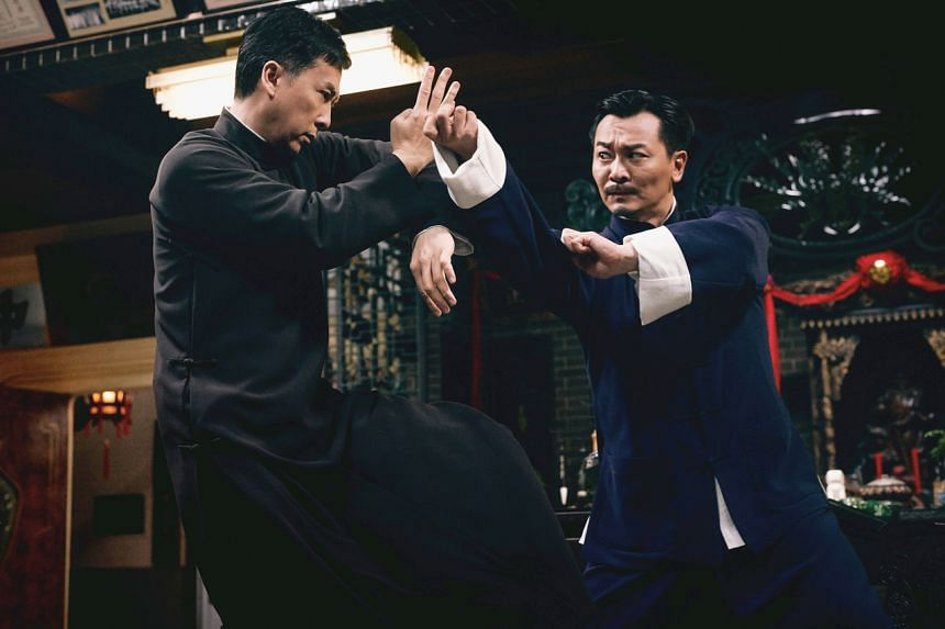 Donnie Yen (left) fighting Chinese actor Wu Yue (right) in a still for Ip Man 4: The Finale.