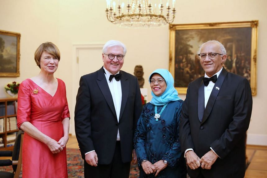 President Halimah Yacob attended a state banquet held in her honour at the Schloss Bellevue in Berlin, on Dec 10, 2019. She was hosted by German President Frank-Walter Steinmeier (second from left). With them are their spouses Ms Elke Budenberger (le