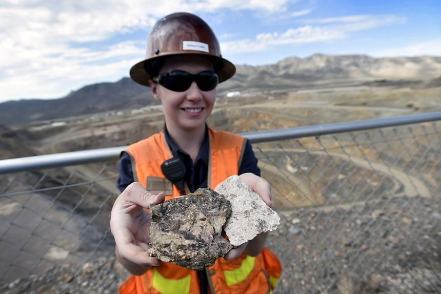 In a photo taken on June 29, 2015, a piece of ore containing rare earths is shown during a tour of a California mine.