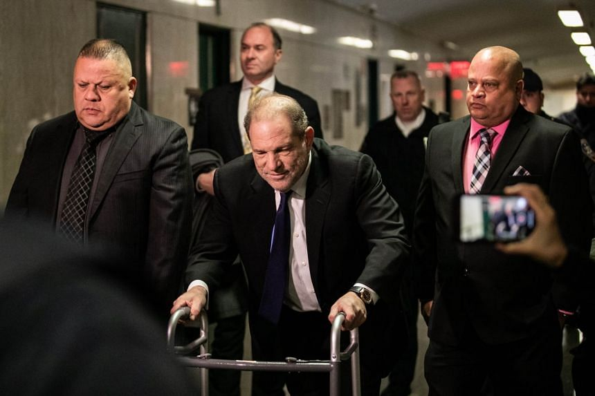Former Hollywood movie producer Harvey Weinstein arrives at criminal court  in New York for a bail hearing related to his sexual assault case on Dec 11, 2019.