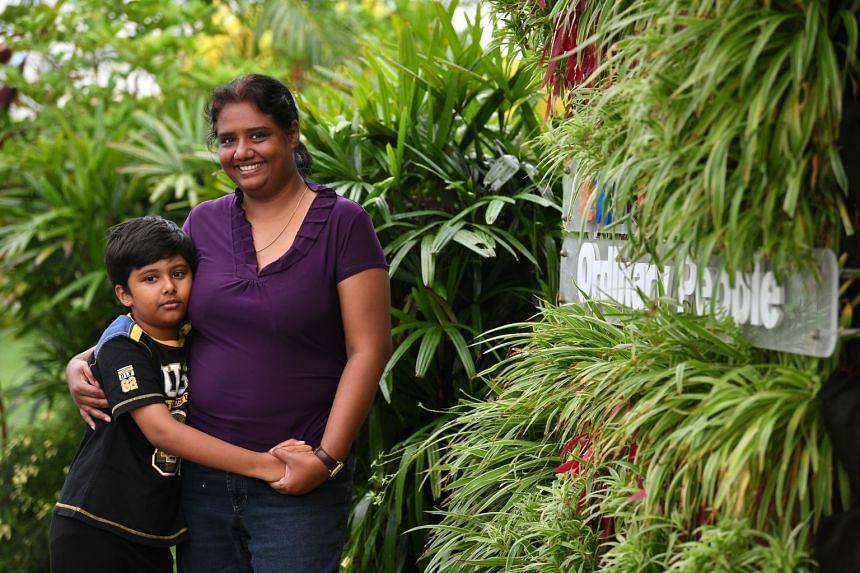 Ms Kalai Sylvie Sadayappan with her eight-year-old son, Abhaysakthivel Muthukumaran, at Extra•Ordinary Place @ Joo Chiat on Dec 11, 2019.