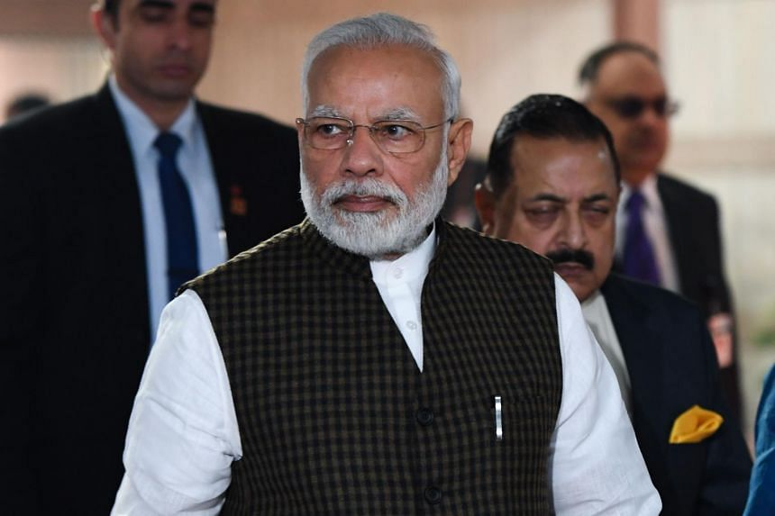 India's Prime Minister Narendra Modi arriving at a Bharatiya Janata Party parliamentary committee meeting at the Parliament House in New Delhi on Dec 11, 2019.