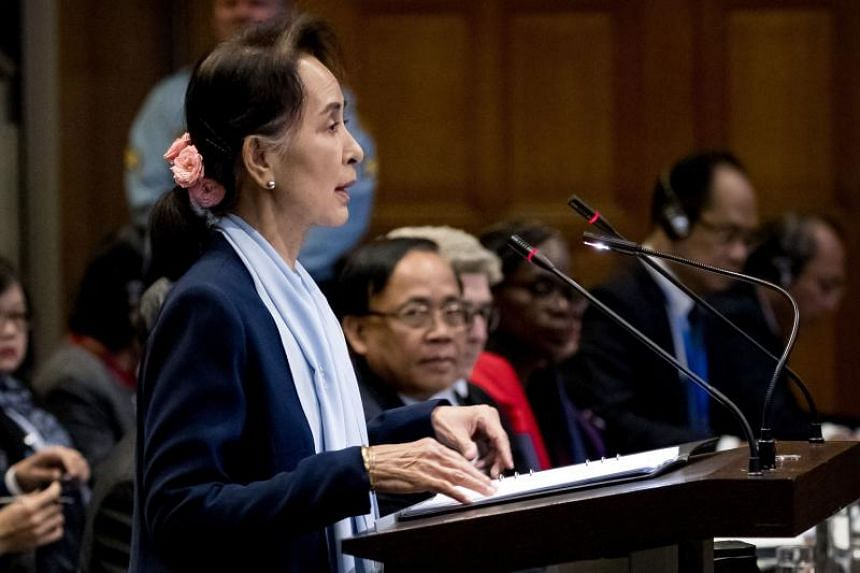 Myanmar's State Counsellor Aung San Suu Kyi speaks at the UN's International Court of Justice in the Peace Palace of The Hague, on the second day of her hearing on the Rohingya genocide case on Dec 11, 2019.