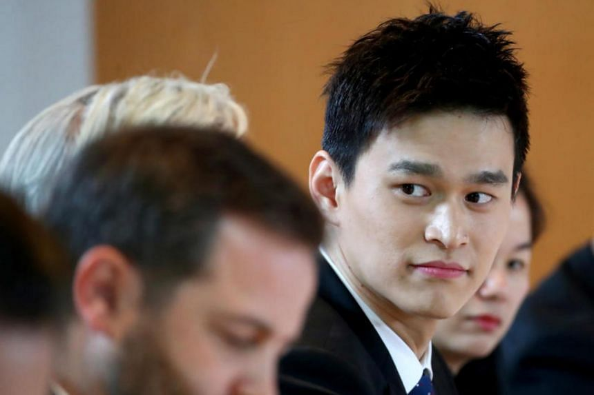 In a photo taken on Nov 15, 2019, Chinese swimmer Sun Yang attends a public hearing of the Court of Arbitration for Sport for the appeal filed by the World Anti-Doping Agency against him in Montreux, Switzerland.