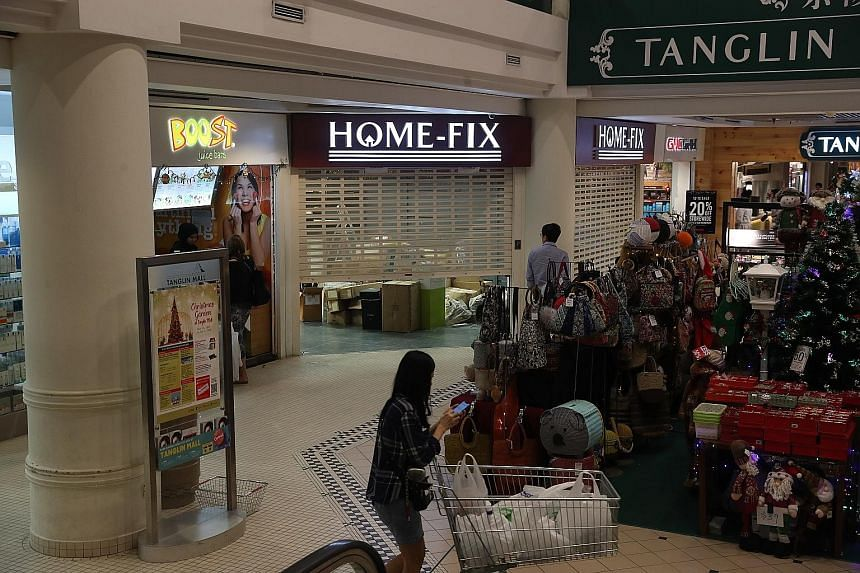 Home-Fix's woes were due in part to an inability to compete with the delivery rates of other e-commerce sites, said director Low Cheong Kee. Home-grown chain Home-Fix now lists just two stores on its website, at Tanglin Mall and Tampines One. The out