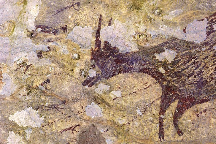 The painting features wild animals being chased by half-human hunters wielding what appear to be spears and ropes.