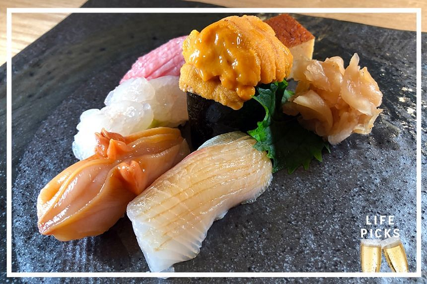 The Kyouten dinner omakase $138++ includes sushi featuring a selection of seafood and sushi rice prepared from special mix of young and old Sasanishiki rice from Miyagi prefecture.