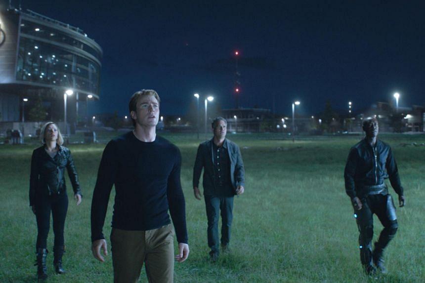 (From left) Scarlett Johansson, Chris Evans, Mark Ruffalo and Don Cheadle in Avengers: Endgame.