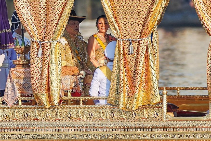 Left: King Maha Vajiralongkorn, Queen Suthida and his son, Prince Dipangkorn Rasmijoti, his youngest child from his third marriage. Far left: The royal barge, Suphannahong, carrying the King and Queen of Thailand. The banks of the Chao Phraya River i