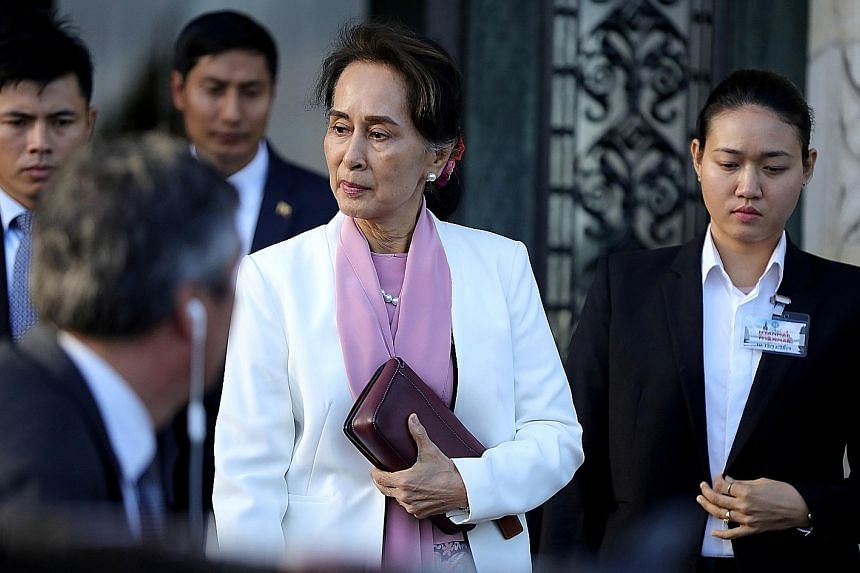 Myanmar's leader Aung San Suu Kyi leaving the International Court of Justice, the United Nations' top court, in The Hague of the Netherlands. The court is hearing a case filed by Gambia against Myanmar alleging genocide against the minority Muslim Ro