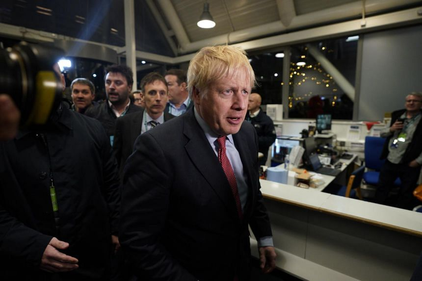 British Prime Minister Boris Johnson arrives for the vote count result for Uxbridge and South Ruislip constituency at Brunel University in London, on Dec 13, 2019.