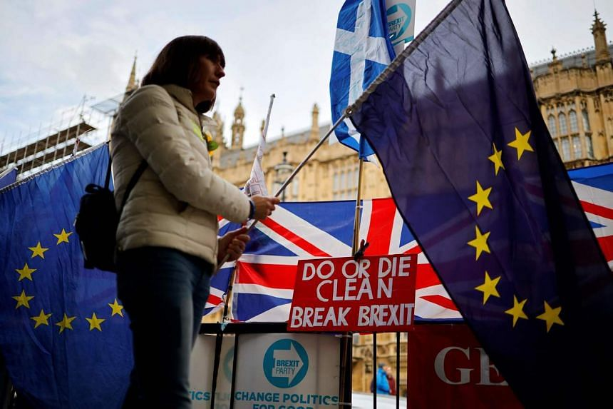 An anti-Brexit activist holds an EU flag during a demonstration outside the Houses of Parliament in London, on Oct 28, 2019.