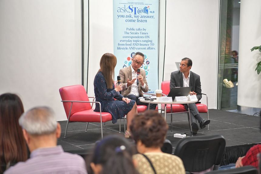 (From left) The Straits Times deputy business editor Poon Chian Hui, Mr Jason Ho, head of group human resources at OCBC Bank, and Mr Mayank Parekh, chief executive of the Institute for Human Resource Professionals at an askST@NLB talk on Dec 13, 2019