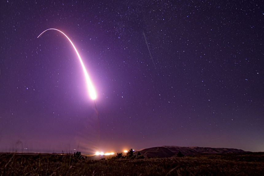 An October 2019 test of an unarmed Minuteman III intercontinental ballistic missile at Vandenberg Air Force Base.