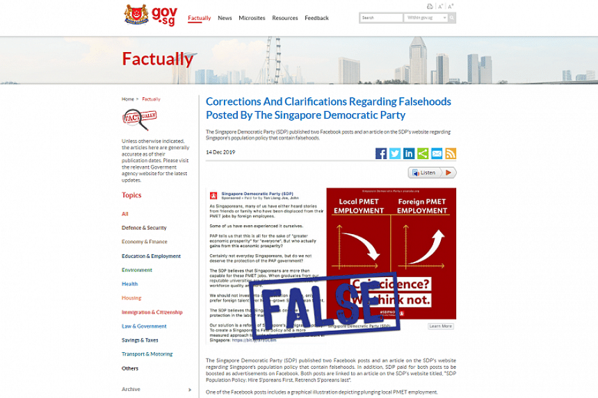 Minister for Manpower Josephine Teo ordered, under the Protection from Online Falsehoods and Manipulation Act, the addition of a correction note to SDP's Facebook posts and an article on its website.