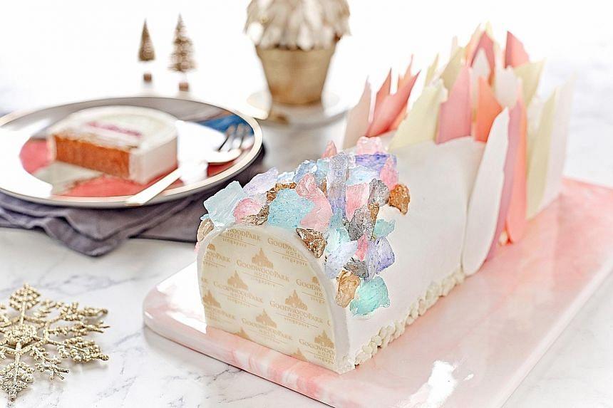 Crystal glacier log cake.