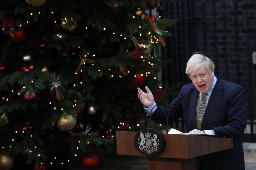 In a photo taken on Dec 13, 2019, British Prime Minister Boris Johnson addresses the media outside 10 Downing Street in London.