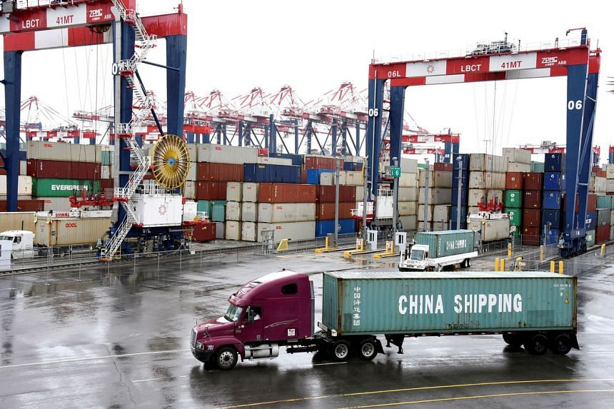 In a photo taken on March 22, 2018, containers are seen at the port in San Pedro, California, US.