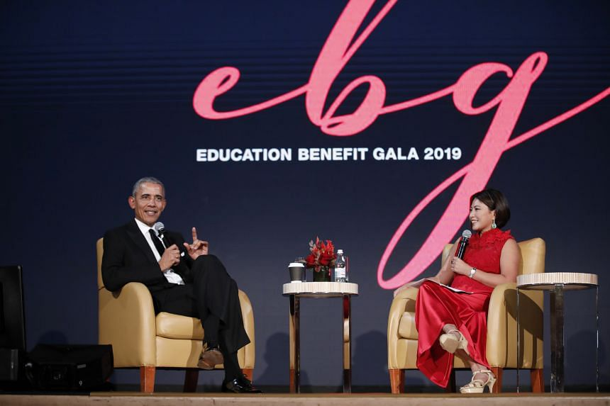 Former US President Barack Obama at a dialogue moderated by venture capitalist Cheah Sui Ling, at the Education Benefit Gala organised by Novena Global Lifecare healthcare and aesthetics group, in Singapore, on Dec 14, 2019.
