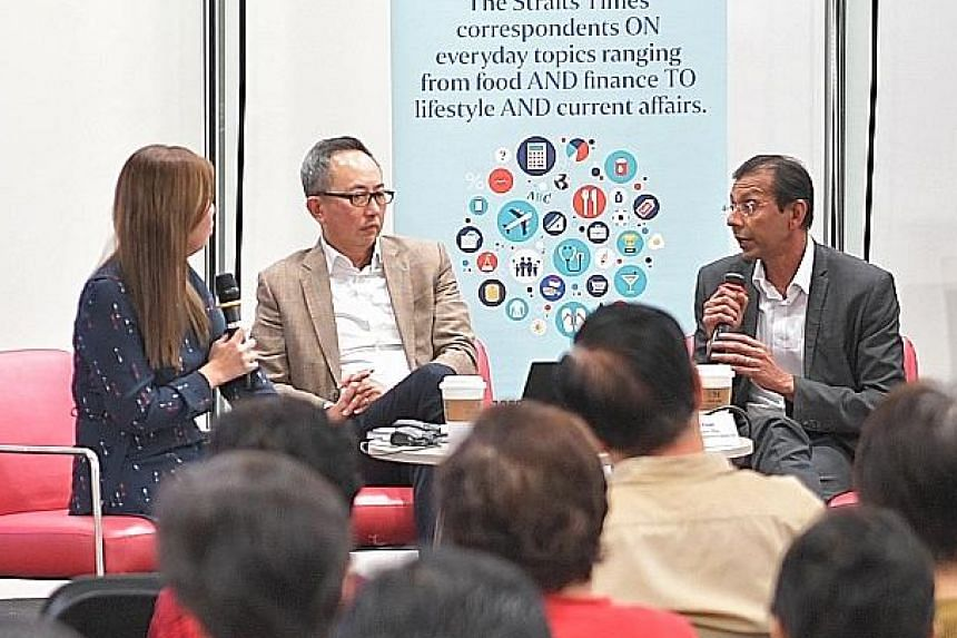(From far left) ST deputy business editor Poon Chian Hui, OCBC Bank's Mr Jason Ho and IHRP chief executive Mayank Parekh at last Friday's askST@NLB talk.