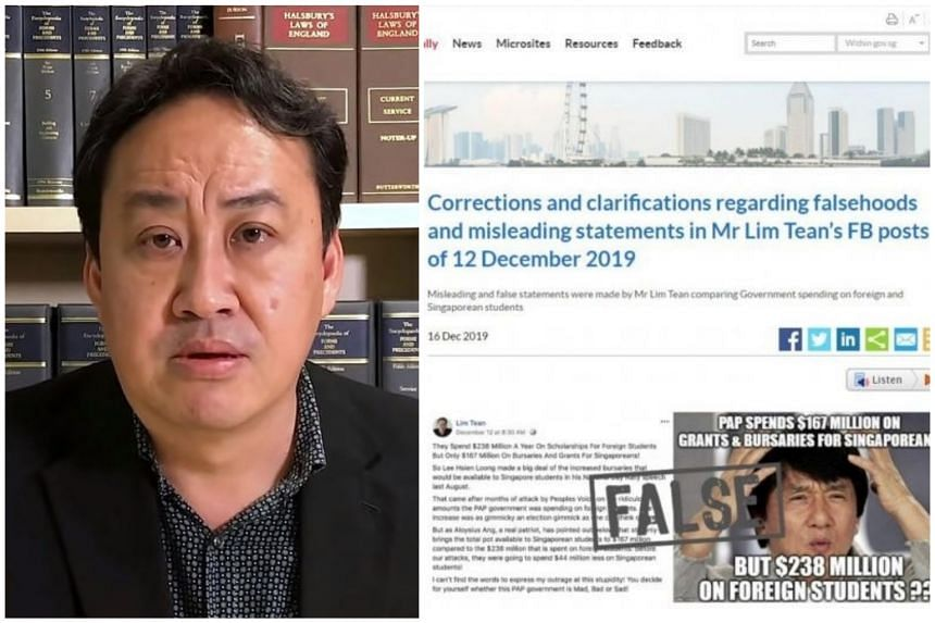 The correction direction requires Mr Lim Tean to carry, in full, a correction notice at the top of both Facebook posts.