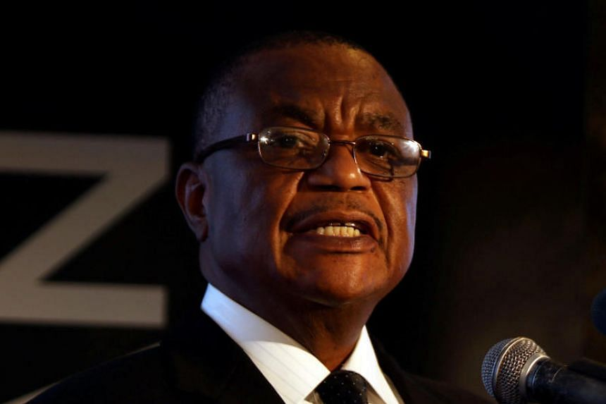 In a photo taken on Feb 28, 2018,  Zimbabwe's vice-president Constantino Chiwenga speaks at a mining investment conference in Harare, Zimbabwe.