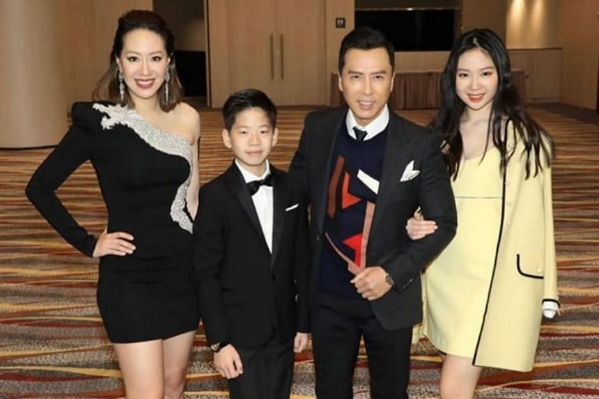 Donnie Yen, his wife Cissy Wang and their son James and daughter Jasmine at the premiere of Ip Man 4 in Hong Kong on Dec 13, 2019.