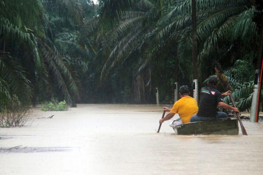 Floods in Kluang, Johor, on Dec 16, 2019.