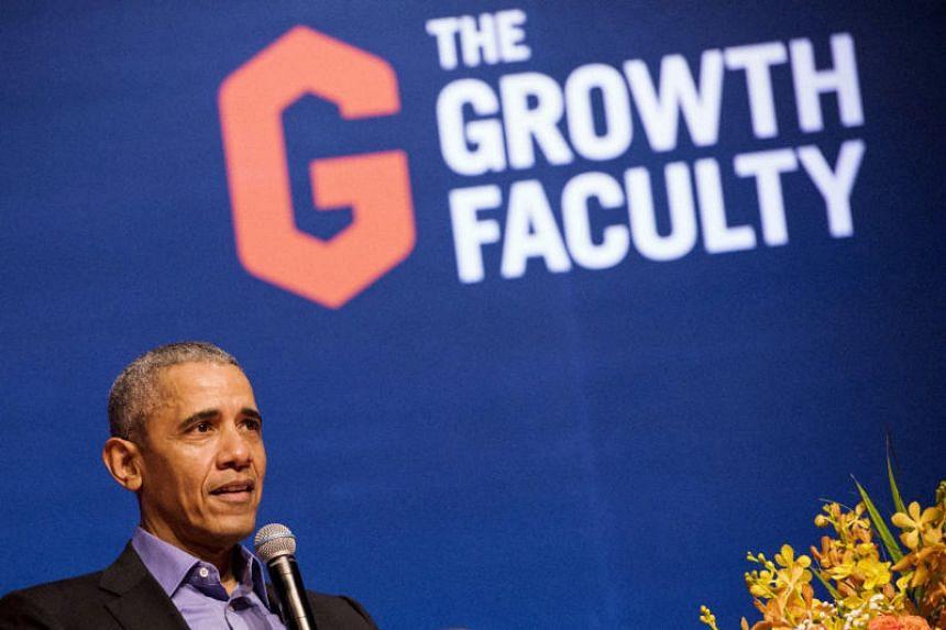 Former US president Barack Obama speaks at Singapore Expo on Dec 16, 2019.