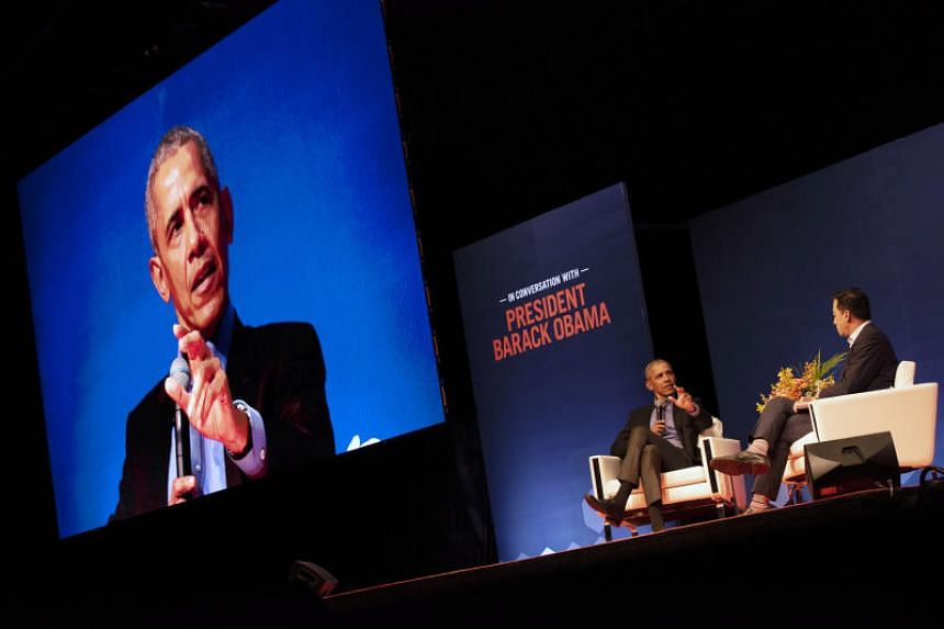 Former US president Barack Obama speaking during a discussion organised by Australian business events provider The Growth Faculty at the Singapore Expo on Dec 16, 2019.