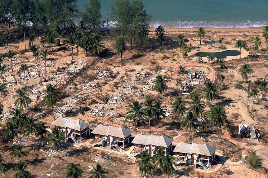 Devastation a beach resort in Khao Lak after it was hit by the Indian Ocean tsunami on Dec 26, 2004.