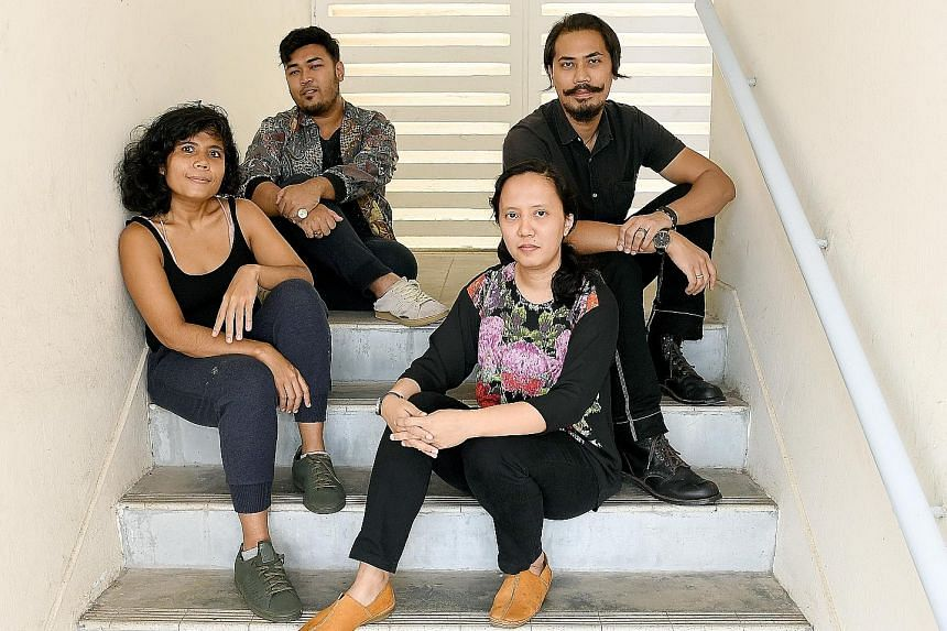 Four artists who will be showing their works: (Clockwise from back row) Noor Iskandar, Nhawfal Juma'at, Fajrina Razak and Shahila Baharom.