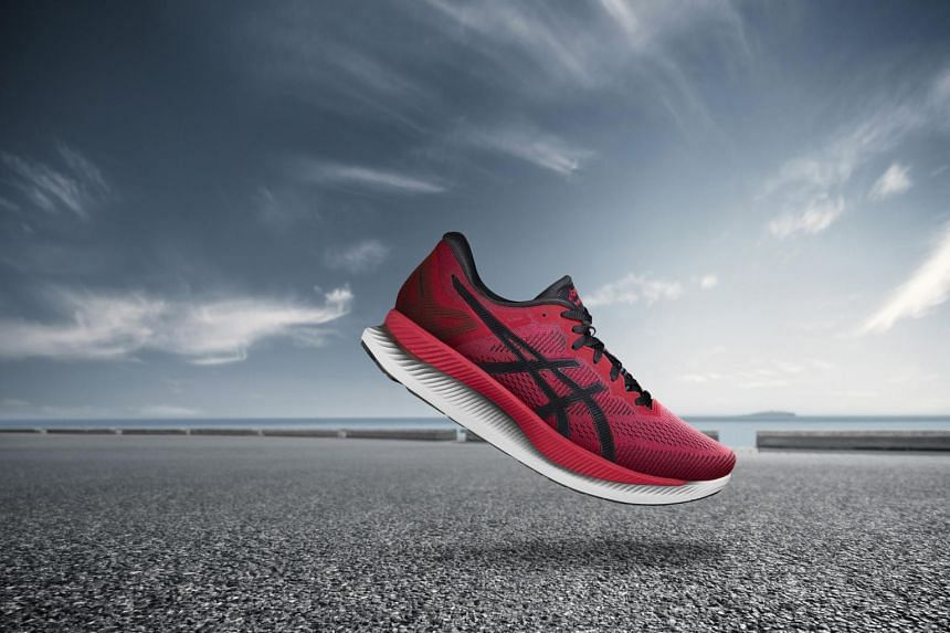 The Guidesole design features an upward curl of the sole at the forefoot area.