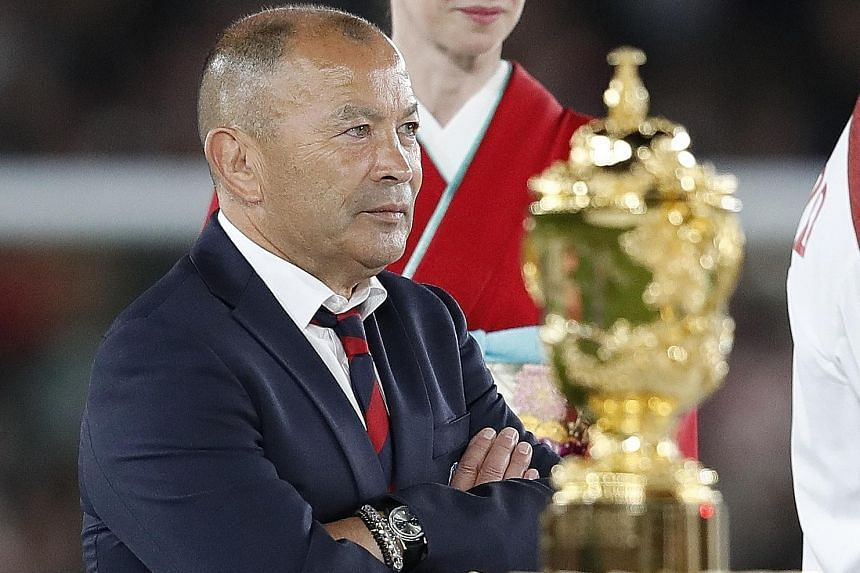 A dejected England coach Eddie Jones after his team's drubbing by South Africa in last month's Rugby World Cup final. He was Australia's coach when they lost to England in the 2003 final. PHOTO: REUTERS