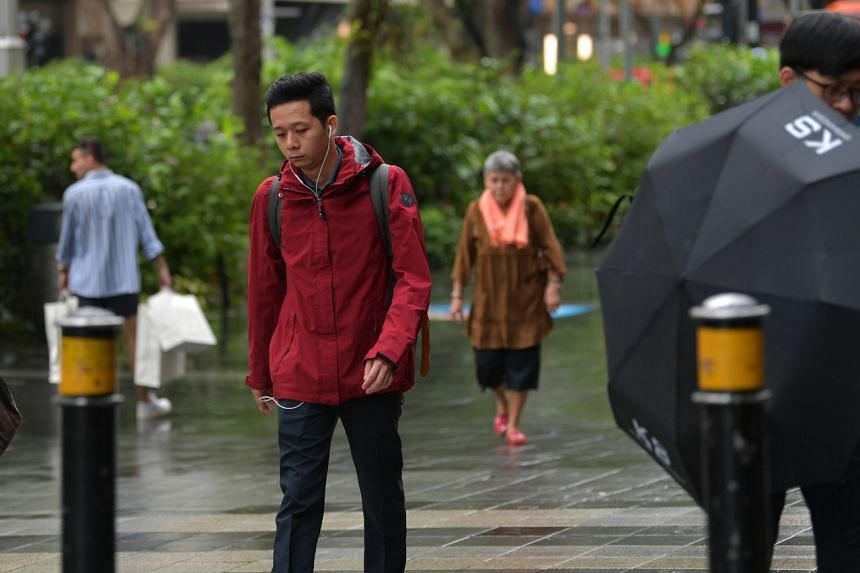 A man wearing a jacket along Orchard Road on Dec 18, 2019.