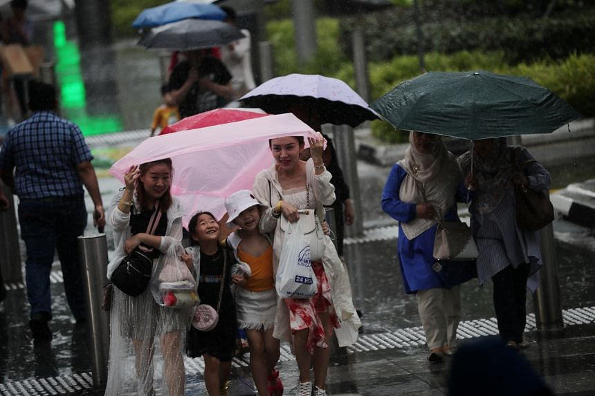 A family of four sharing a raincoat on Orchard Road on Dec 18, 2019.
