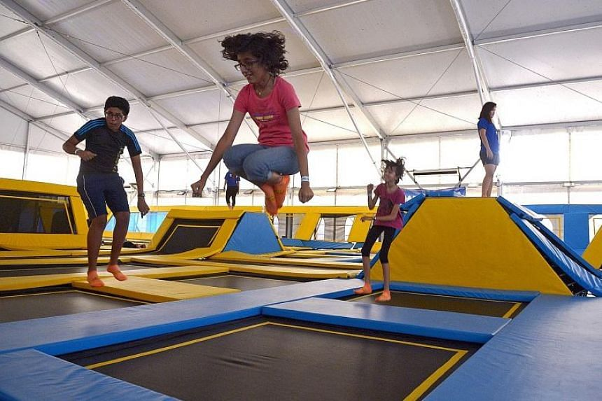 Children in a trampoline park in 2014. A KK Women's and Children's Hospital study has found that soft tissue injuries were the most common type of trampoline-related injuries, followed by fractures and dislocations.