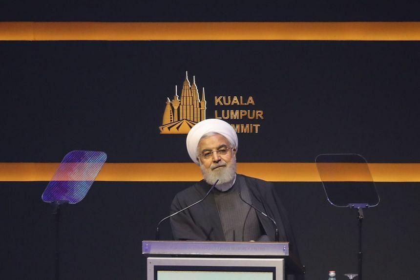 Iranian President Hassan Rouhani speaks at the KL Summit 2019 in Kuala Lumpur on Dec 19, 2019.