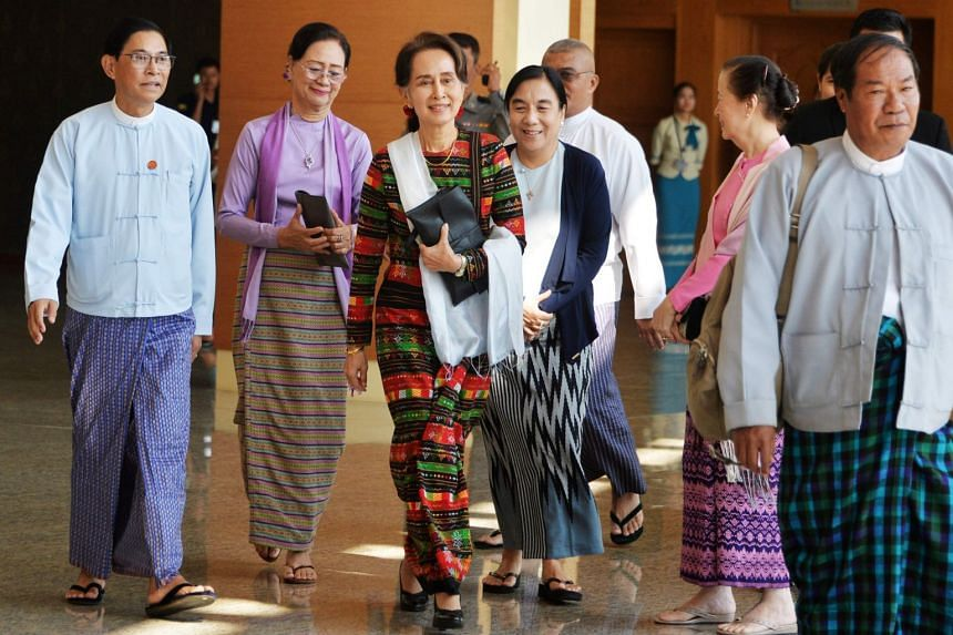 Myanmar's State Counselor Aung San Suu Kyi arrives in Naypyitaw, Myanmar, on Dec 14, 2019.