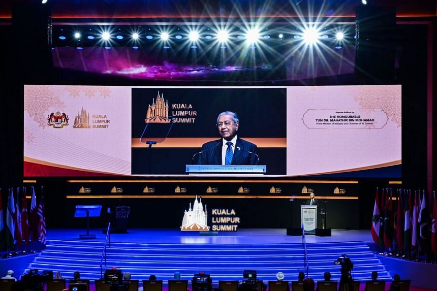 Malaysian Prime Minister Mahathir Mohamad speaks during the opening ceremony of the Kuala Lumpur Summit on Dec 19, 2019.