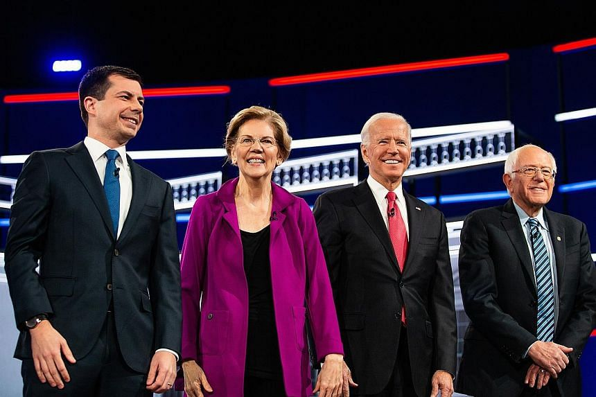 The Democrats aiming to unseat President Donald Trump include (from left) Pete Buttigieg, Elizabeth Warren, Joe Biden and Bernie Sanders. The writer says that with the election approaching, none of the leading candidates shows much promise of uniting