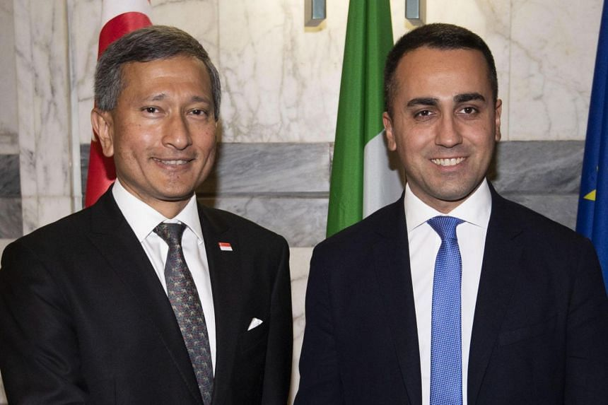 Italy's Foreign Minister Luigi Di Maio (right) welcomes Singapore's Foreign Minister Vivian Balakrishnan for a meeting at Farnesina Palace in Rome, Italy, on Dec 19, 2019.