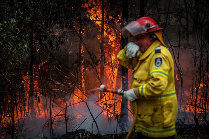 A photo taken on Dec 12, 2019, shows a New South Wales Rural Fire Service volunteer resting after dousing a fire during back-burning operations in bushland near the town of Kulnura in Australia.