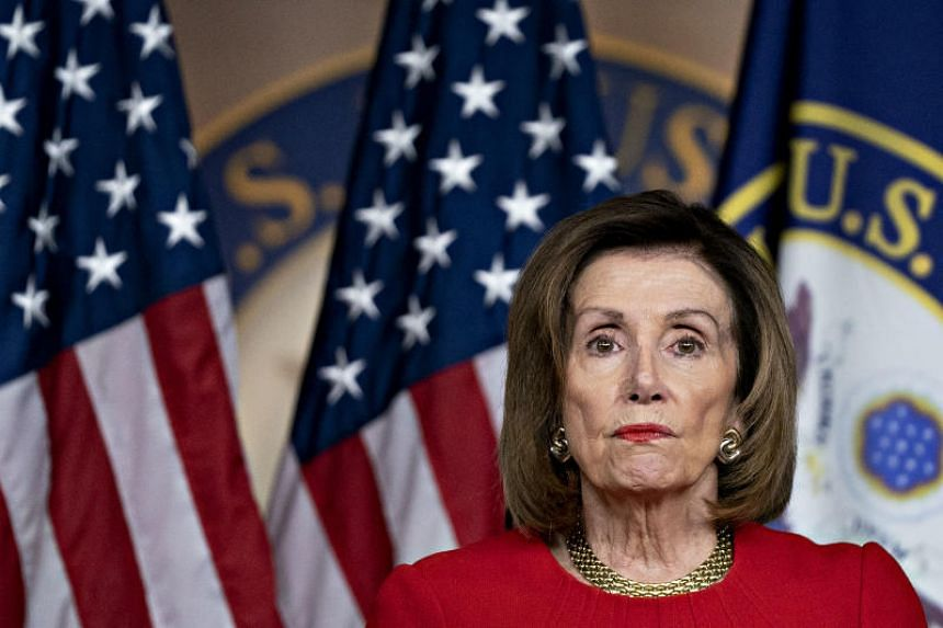 US House Speaker Nancy Pelosi speaks during a news conference on Capitol Hill in Washington, DC, on Dec 19, 2019.