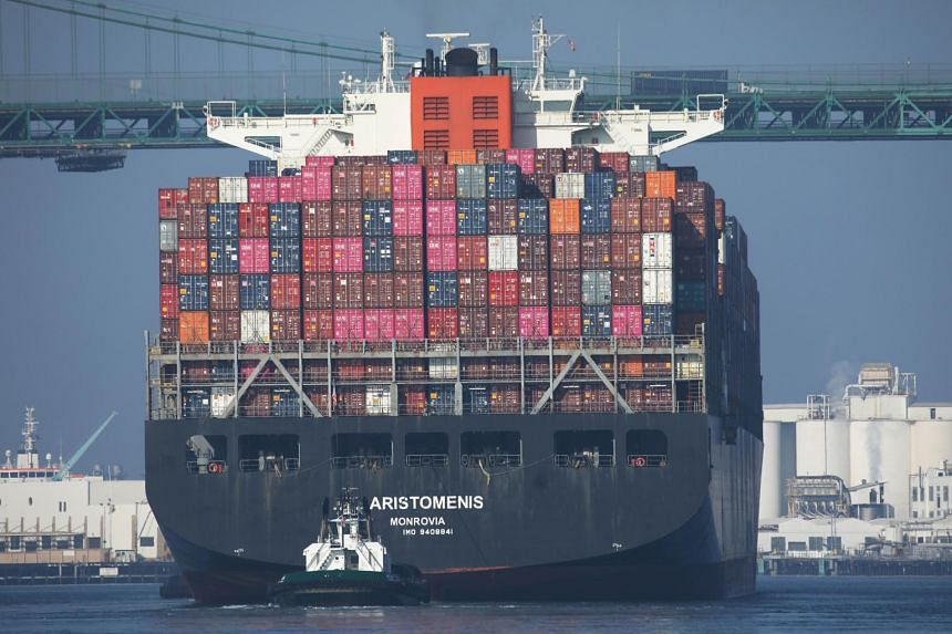 A cargo ship arriving at the Port of Los Angeles in California, on Nov 7, 2019.