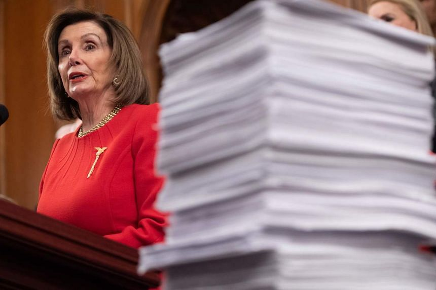 House Speaker Nancy Pelosi said the articles would be sent and the impeachment managers named, once it was clear what process Senator Mitch McConnell will agree to.