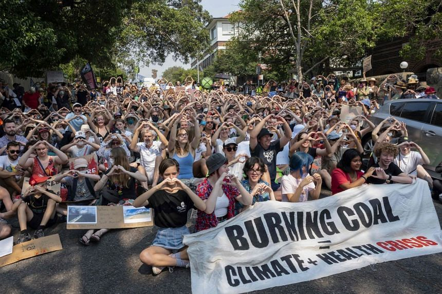 Protesters camped outside Australian Prime Minister Scott Morrison's Sydney residence yesterday, demanding urgent action on climate change.